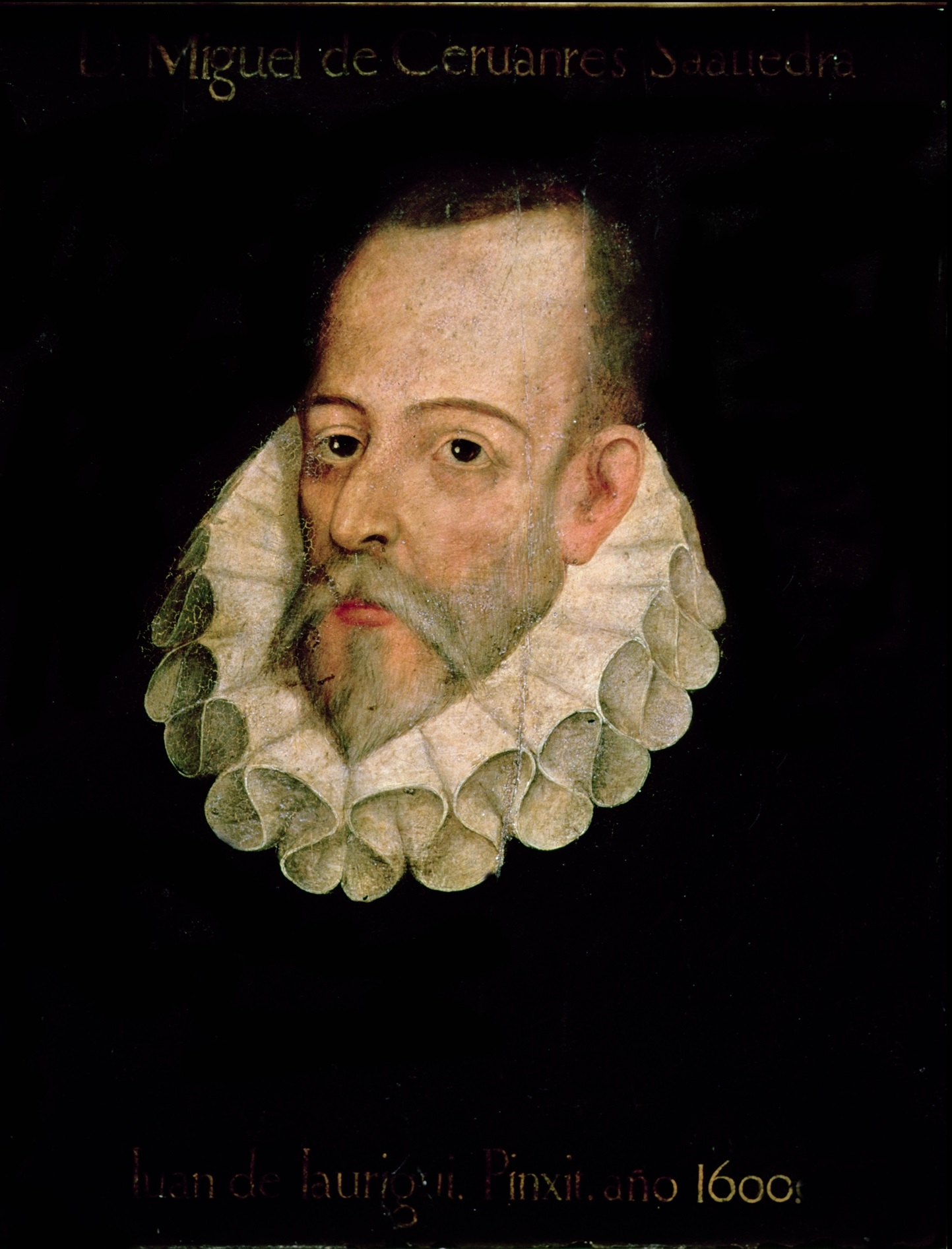 IND119216 Portrait of Miguel de Cervantes y Saavedra (1547-1615) 1600 (oil on panel) by Jauregui y Aguilar, Juan de (c.1566-1641); Real Academia de la Historia, Madrid, Spain; Index; Spanish,  out of copyright